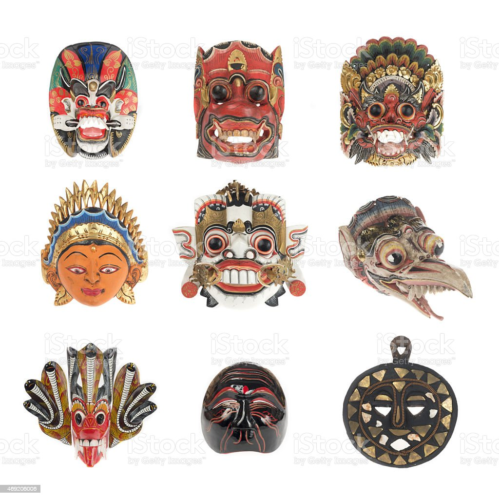 Group of balinese mask isolated on white stock photo
