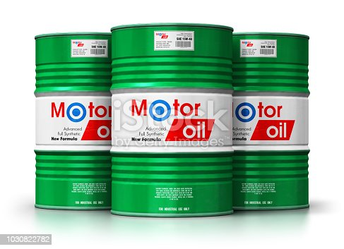 Creative abstract automotive industry and auto repair service and maintenance concept: 3D render illustration of the group of green metal drum canisters or barrel containers with car motor engine liquid synthetic oil lubricant isolated on white background with reflection effect