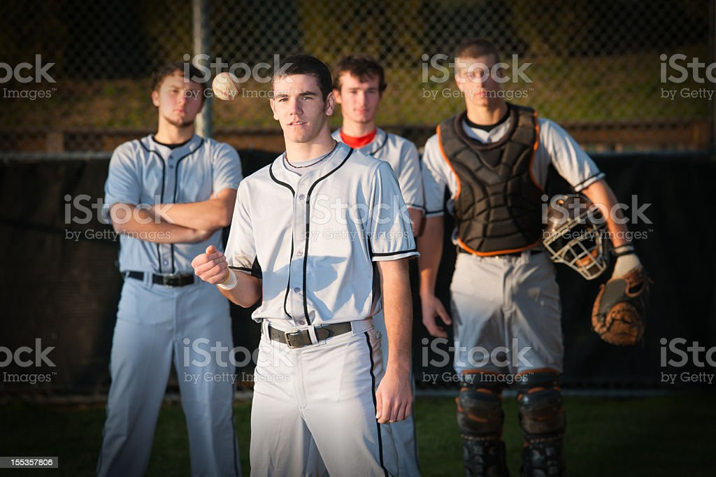 Group of baseball players standing together stock photo