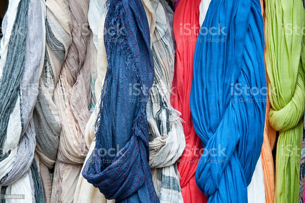 group of beautiful colored scarves in cotton and wool royalty-free stock photo