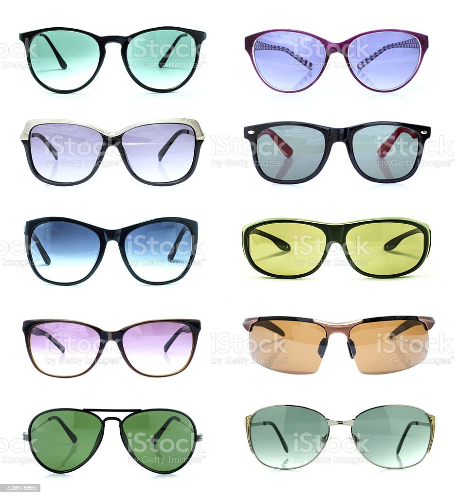 Group of beautiful sunglasses isolated on white royalty-free stock photo