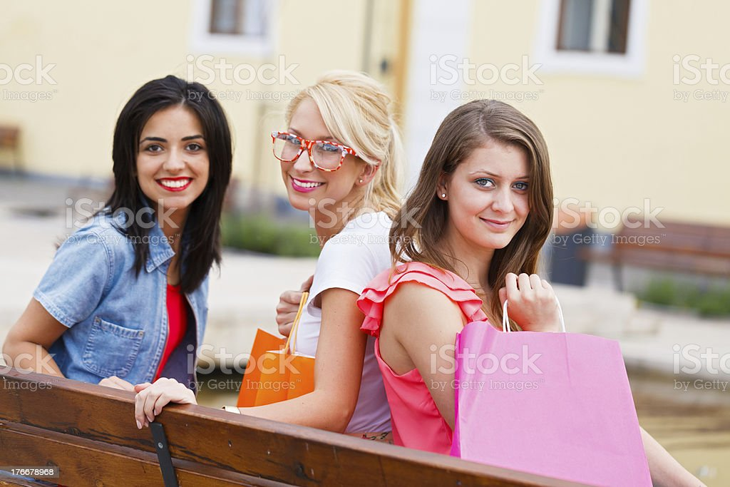 Group of Beautiful Women on Bench royalty-free stock photo