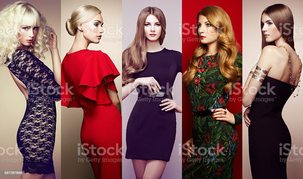 Group of beautiful young women royalty-free stock photo