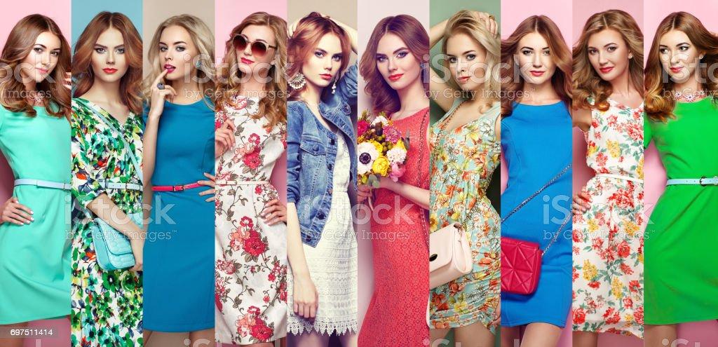 Group of beautiful young women stock photo