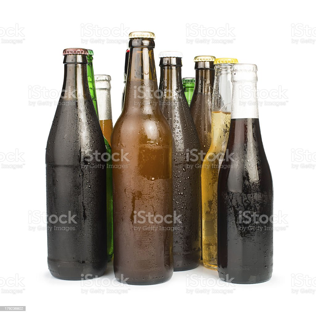 Group of Beer bottles isolated studio shot royalty-free stock photo
