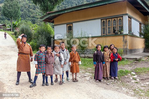 Eastern Bhutan - October 2010: Group of Bhutanese children wearing the traditional dress