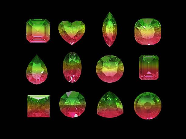 gruppe von zweifarbiger (pink green) turmalin form mit clipping path - birnen verlobungsringe stock-fotos und bilder