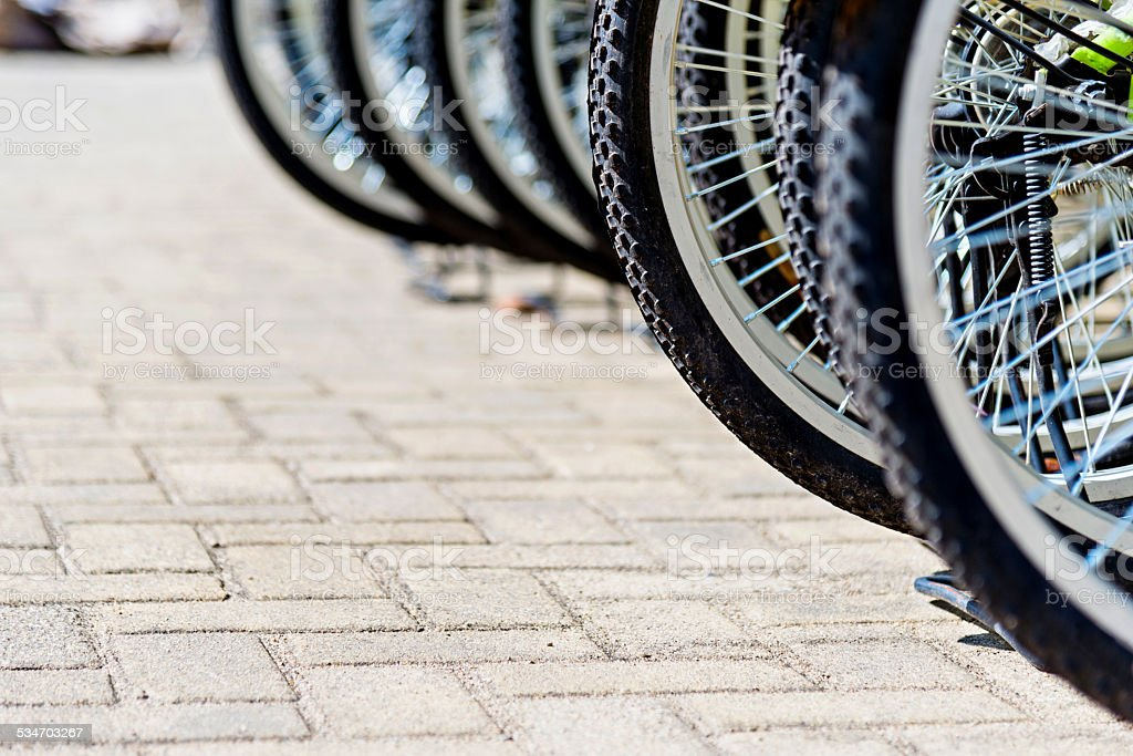 group of bicycles stock photo
