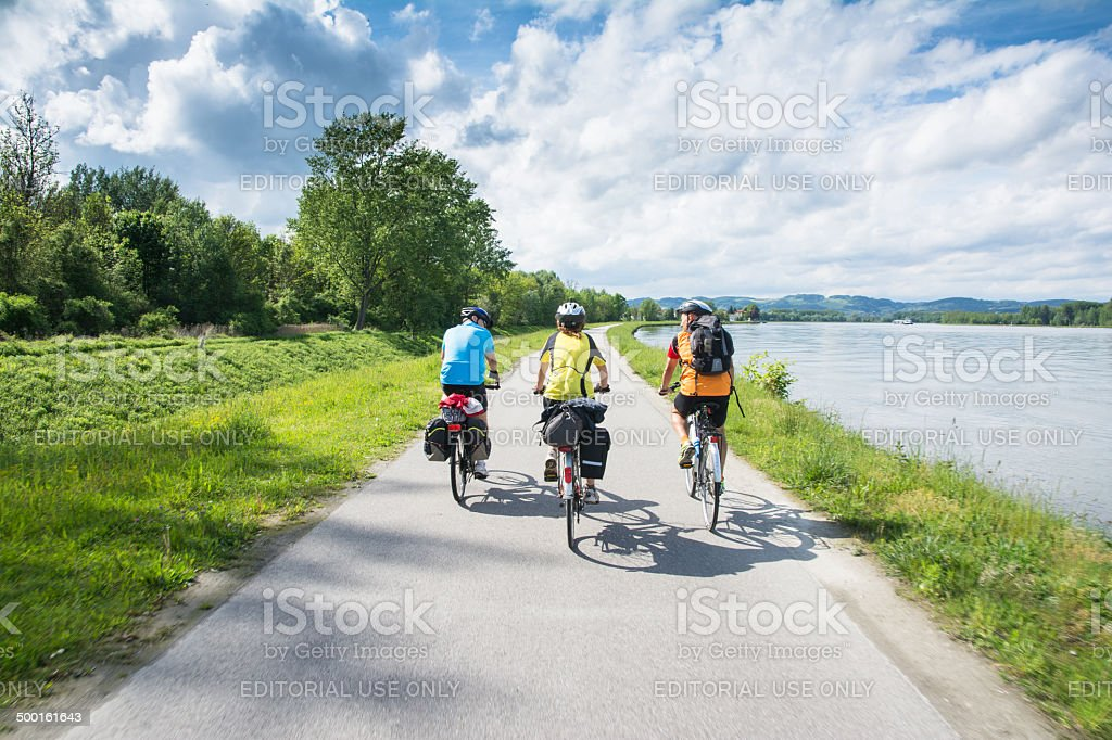 group of bicyclists stock photo
