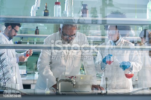 499203366 istock photo Group of biochemists working on new research in laboratory. 1030853948
