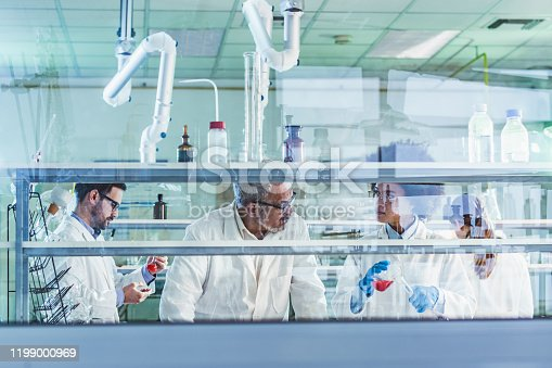 499203366 istock photo Group of biochemists working on new research in laboratory. 1199000969