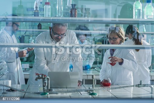 499203366 istock photo Group of biochemists working on new research in laboratory. 871112296