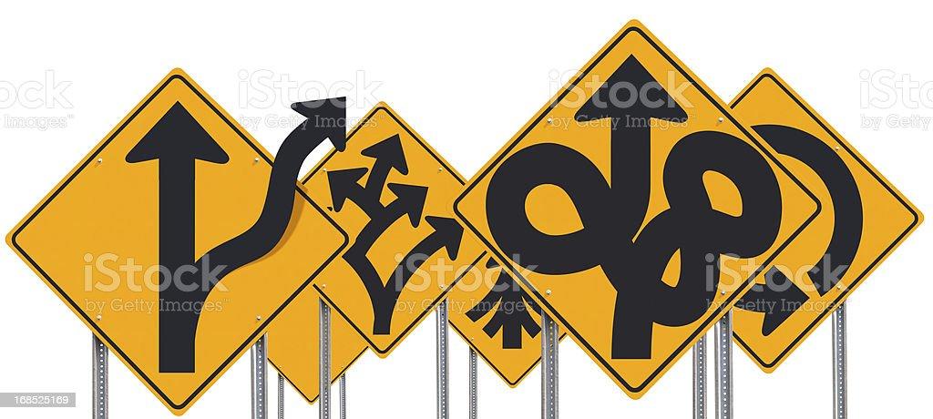 Gruppe bizarrer Odd ungewöhnliche Verkehrszeichen, isoliert auf weiss – Foto