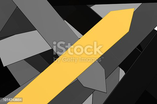 812823858istockphoto Group of black arrows and yellow arrow 1014243654