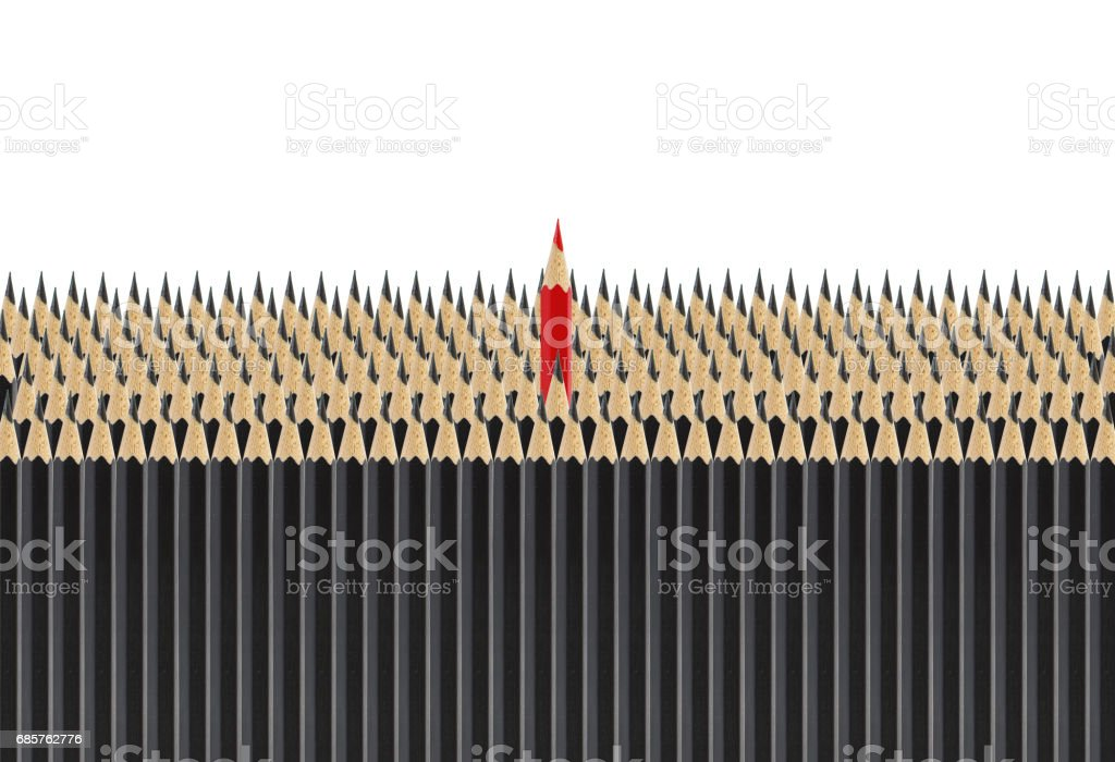 group of black pencil with one red pencil standing up isolated on white for education concept. zbiór zdjęć royalty-free