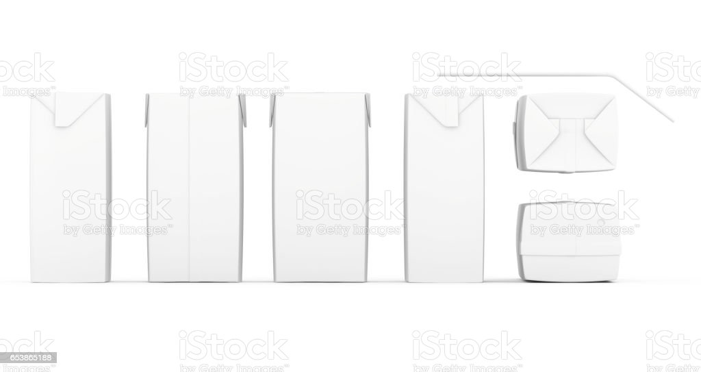 Group of blank juice boxes. Retail package set. Isolated on white. 3d rendering stock photo