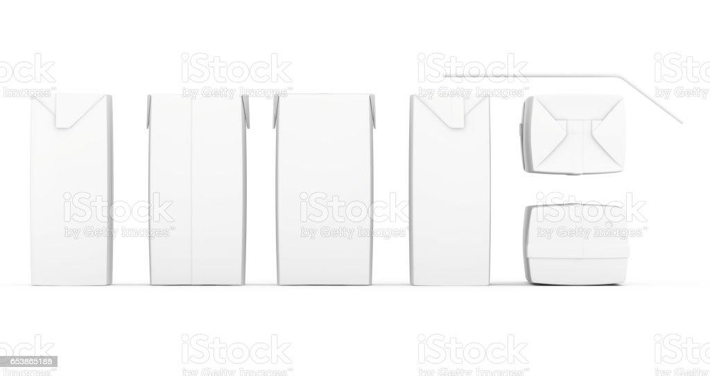 Grupo de caixas de suco em branco. Conjunto de pacotes de varejo. Isolado no branco. renderização 3D - foto de acervo