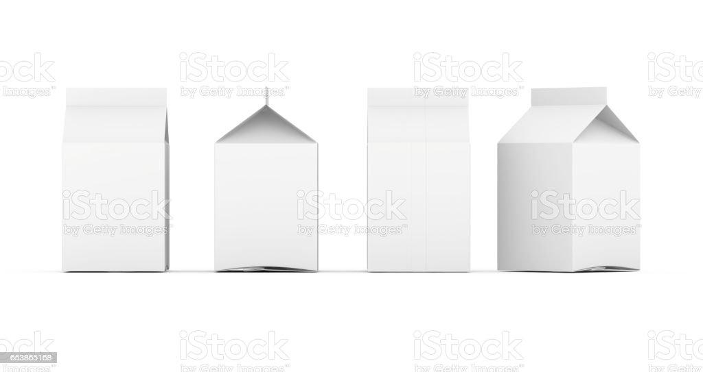 Groupe de boîtes de lait vides. Set de détail de package. Isolé sur blanc. rendu 3D. - Photo