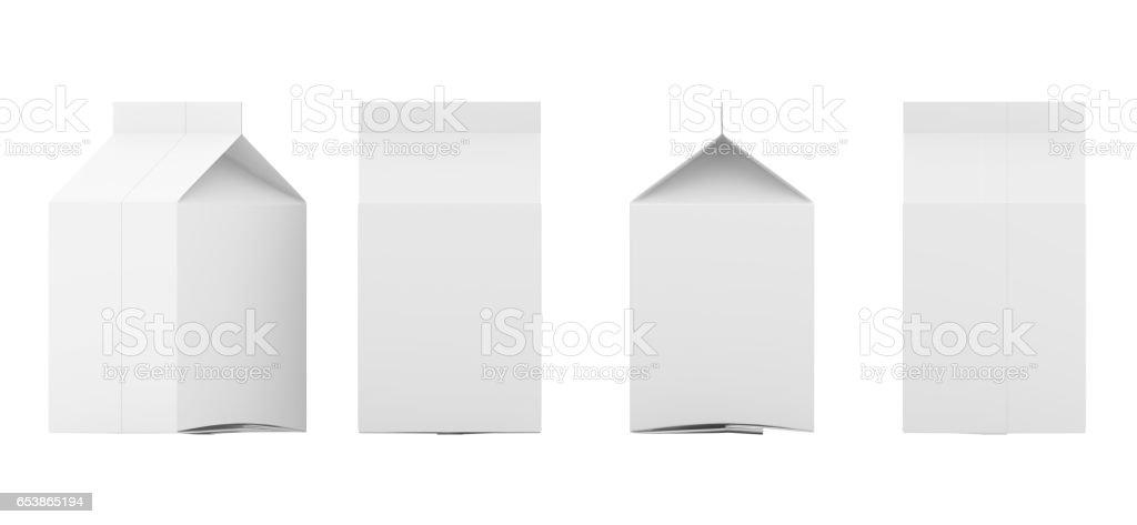 Grupo de caixas de leite em branco. Conjunto de pacotes de varejo. Isolado no branco. renderização 3D. - foto de acervo