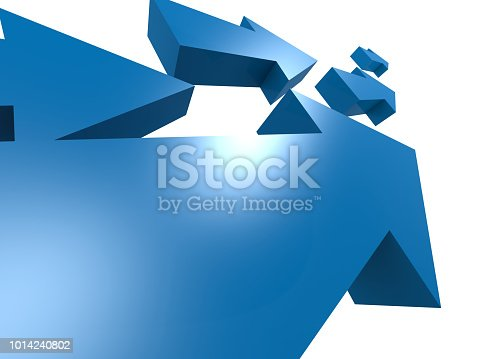 1014851396 istock photo Group of blue arrows move upword 1014240802