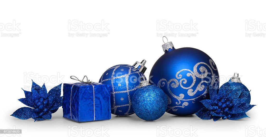 Group of blue christmas balls isolated on white background stock photo