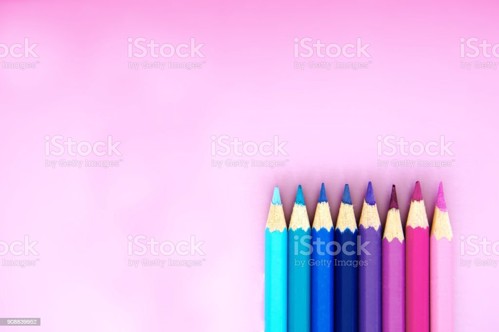 group of blue pink purple pencil sweet cute color on pastel background stock photo
