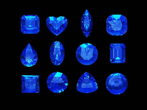 gruppe von saphirblauen form mit clipping path - birnen verlobungsringe stock-fotos und bilder