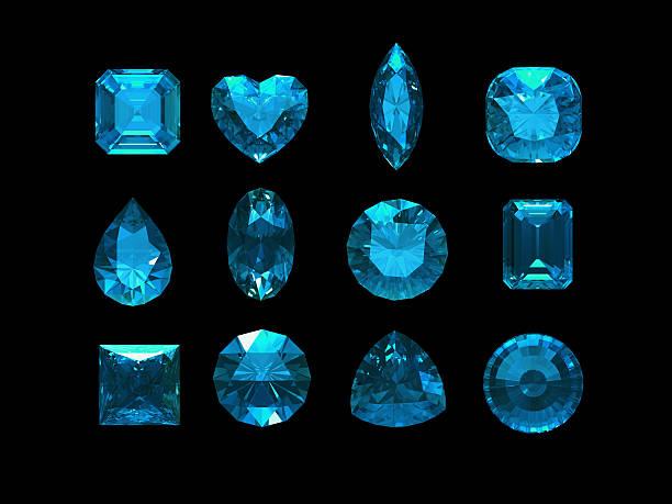 gruppe von blue turmalin form mit clipping path - birnen verlobungsringe stock-fotos und bilder