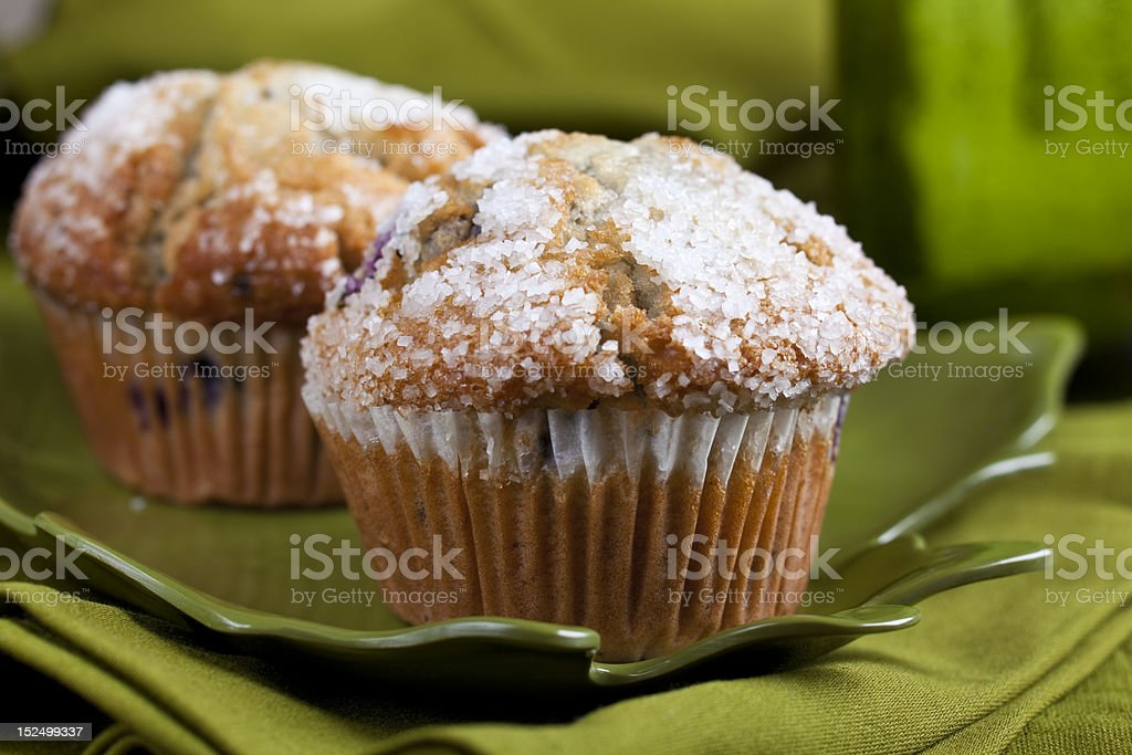 Group of Blueberry Muffins with Rock Sugar topping royalty-free stock photo