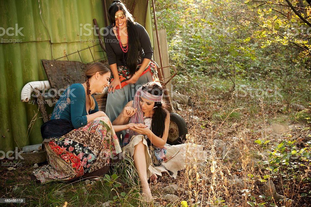 Group of Bohemian Gypsy Women stock photo