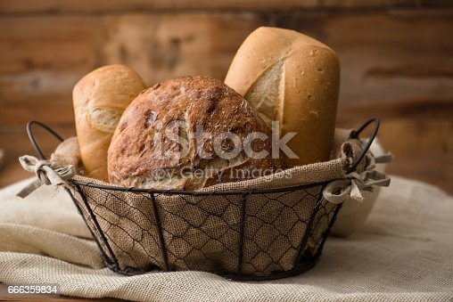 Several types of bread in a basket
