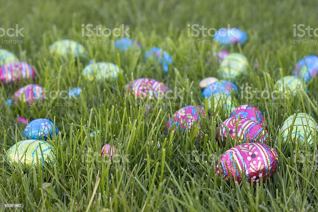 Group of brightly colored Easter eggs in the grass  royalty-free stock photo