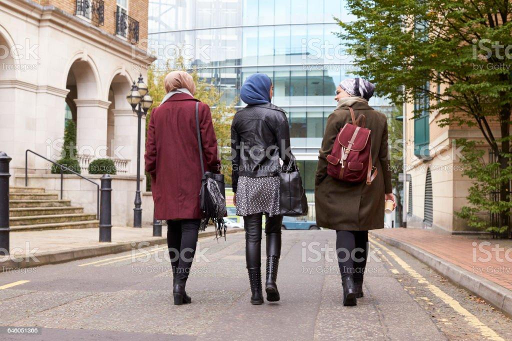 Group Of British Muslim Businesswomen Returning To Office stock photo