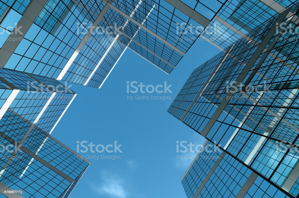 Groupe du bâtiment avec un ciel clair et lumineux. photo libre de droits