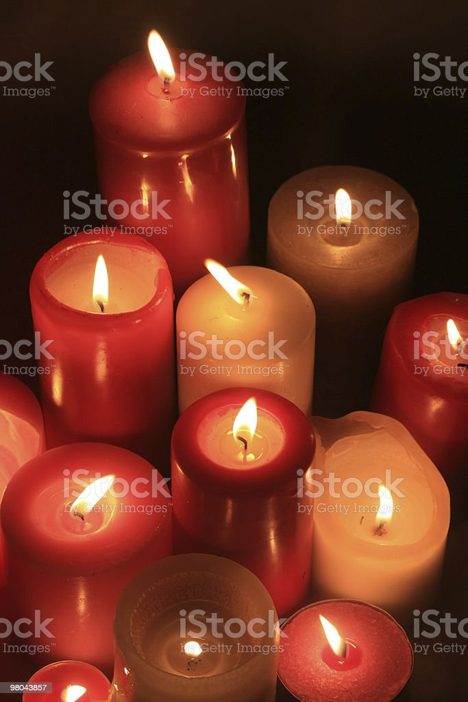 Group of burning candles royalty-free stock photo