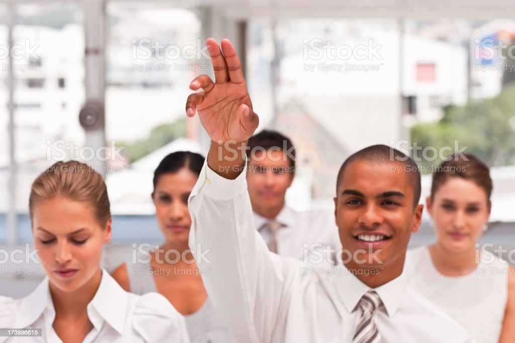 Group of business colleagues during a meeting royalty-free stock photo