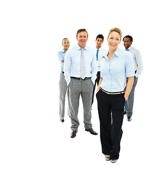 Group of business colleagues isolated over white stock photo