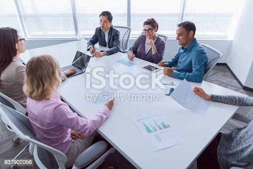 istock Group of business colleagues meeting together in office 637902056