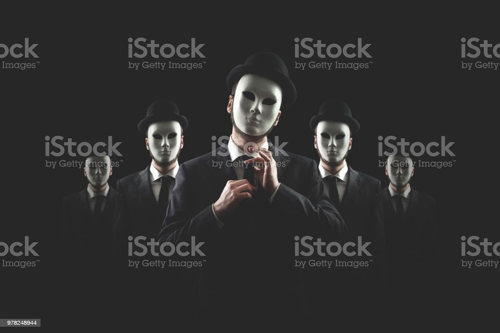 group of business men with white masks stock photo