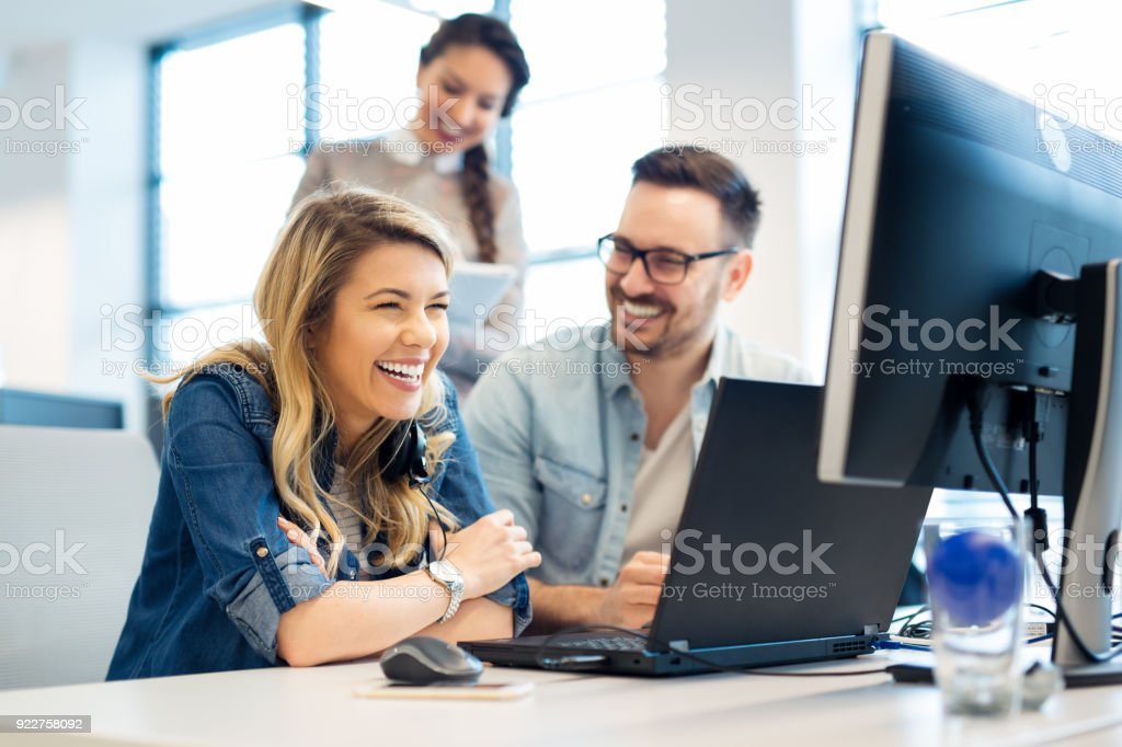 Group of business people and software developers working as a team in office royalty-free stock photo