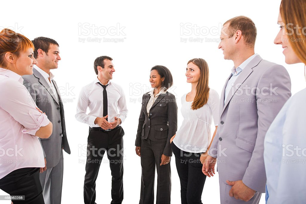 Group of business people communicating. Isolated on white. royalty-free stock photo