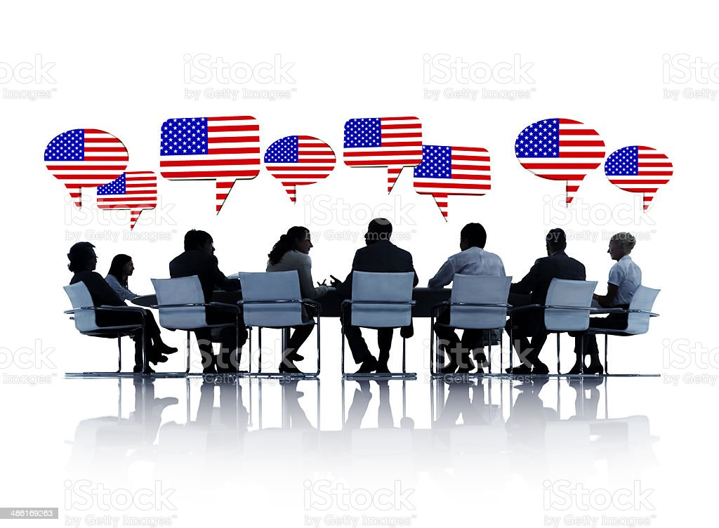 Group Of Business People Having A Conference About America royalty-free stock photo