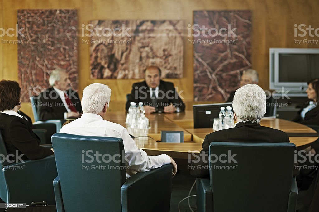 Group of Business People Having Board Meeting royalty-free stock photo