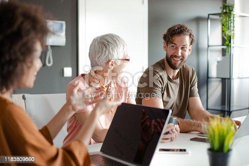 istock Group of business people having meeting. 1183809860