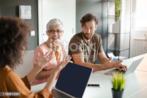 istock Group of business people having meeting. 1183810081