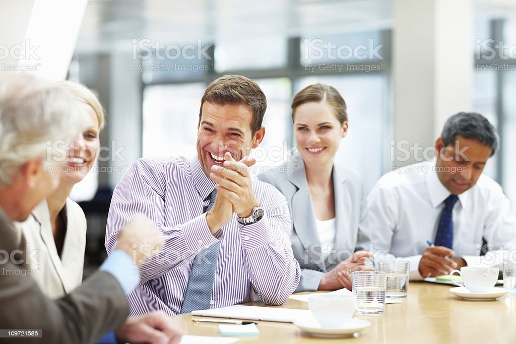 Group of business people in a meeting royalty-free stock photo