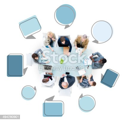 istock Group of Business People in a Meeting with Speech Bubbles 494280901