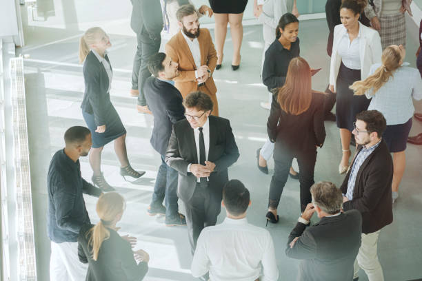 Group of business people in convention center stock photo