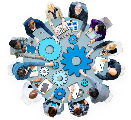 Group Of Business People In Meeting Photo And Illustration Stock Photo - Download Image Now