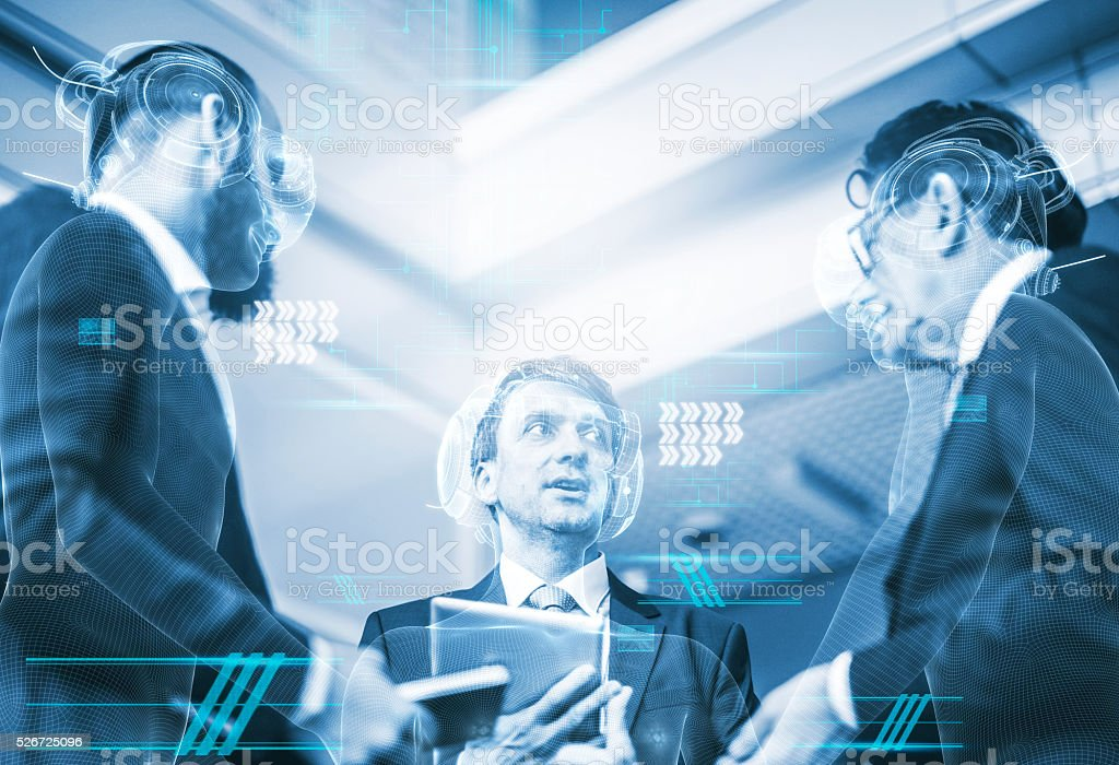 Group of business people in virtual reality simulator stock photo